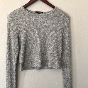 Forever 21 gray marled crop sweater